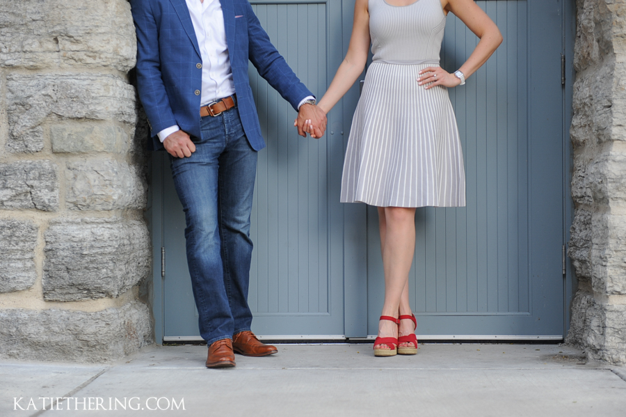 Engagement session with red shoes